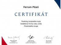 FIRMA ROKU 2016 - Certifikát